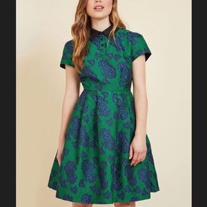 Mod Cloth Green and Blue floral mini dress Sz M